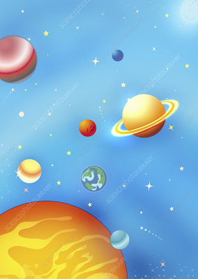 Planets in solar system, illustration