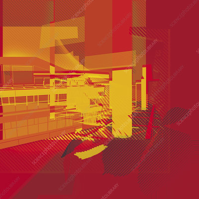 Office building, abstract illustration