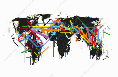Confusing arrows over world map, illustration