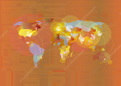 Abstract pattern over world map, illustration