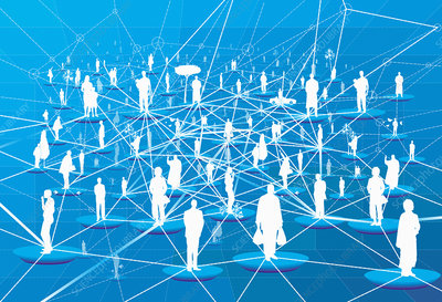 Lots of people connected in network grid, illustration