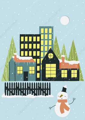 Snow falling over town and snowman, illustration
