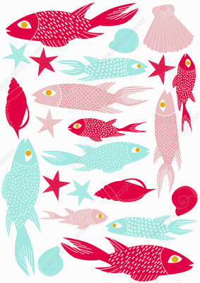 Fish and seashells, illustration