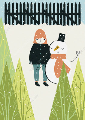 Girl and snowman standing together in snow, illustration