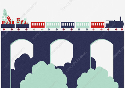 Toy train with Christmas gifts, illustration