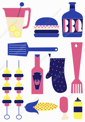 Barbecue food and cooking utensils, illustration