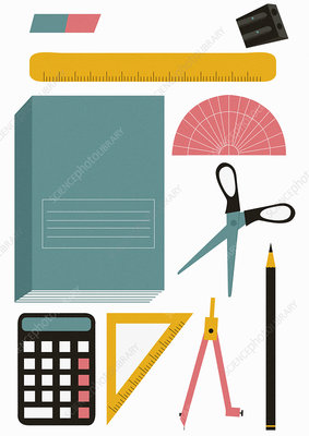 School stationery equipment set, illustration