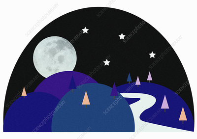 Winding path with full moon, illustration
