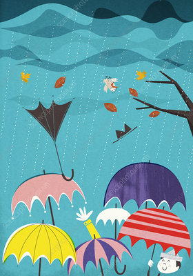 Umbrellas in rain and wind, illustration