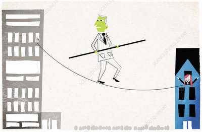 Man walking on tightrope, illustration