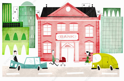People outside bank in city, illustration