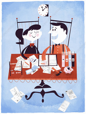 Couple paying bills at table, illustration