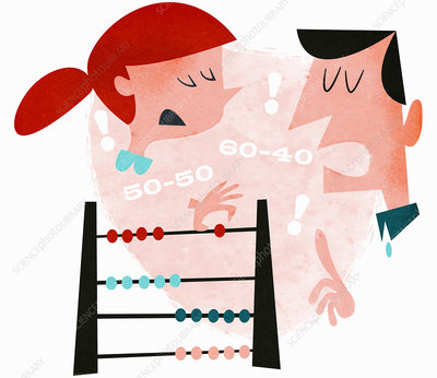 Couple using abacus arguing, illustration