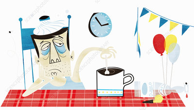 Man with hangover, illustration