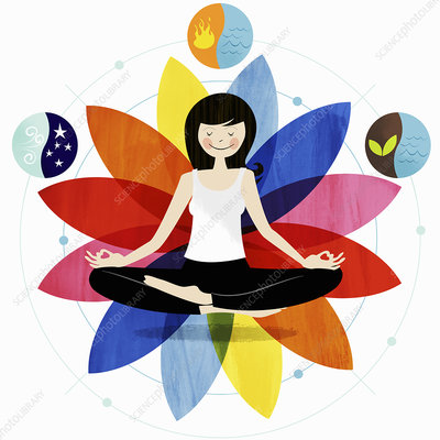 Smiling woman sitting in lotus position, illustration