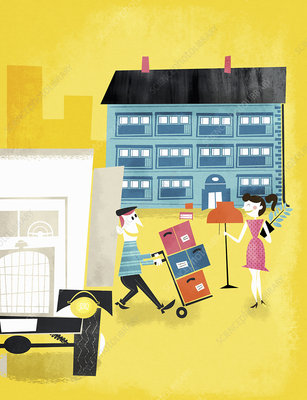 Young couple moving belongings into new home, illustration