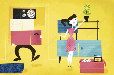 Young couple unpacking in new home, illustration
