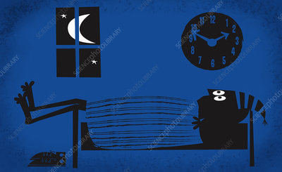 Sleepless wide-eyed man laying in bed at night, illustration