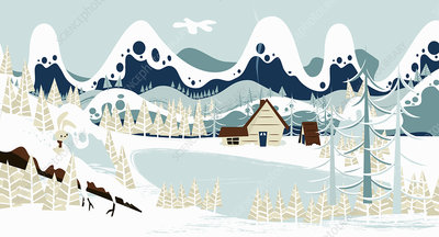Lakeside cabin below mountains in snow, illustration