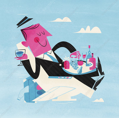 Businessman eating on airplane seat, illustration