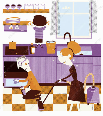 Happy family cleaning home, illustration