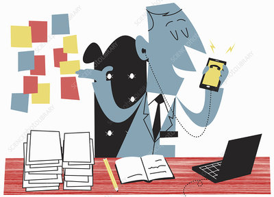 Businessman planning appointments, illustration