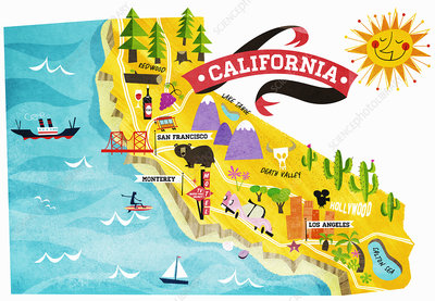 Map of tourist attractions in California, illustration