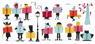 Characters reading fiction books, illustration