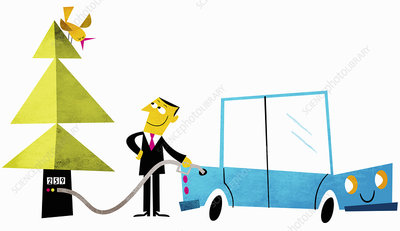 Happy businessman filling car with biofuel, illustration