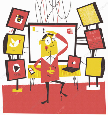 Man multi-tasking using computer technology, illustration