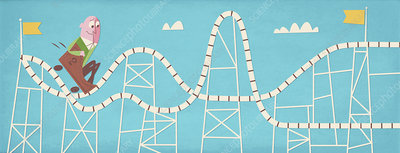 Nervous man on rollercoaster, illustration