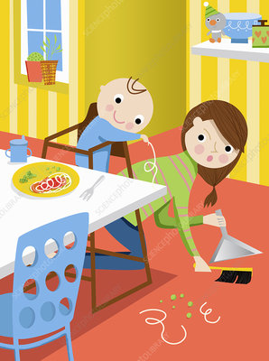 Mother cleaning up food on floor, illustration