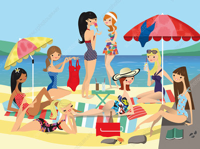 Group of young women friends relaxing on beach, illustration