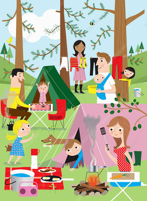 Families having fun camping in woods, illustration