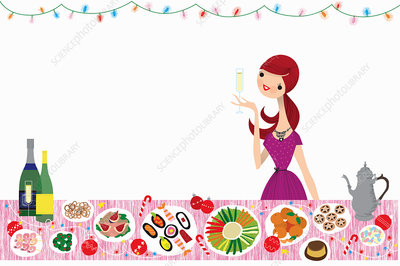 Happy woman drinking champagne, illustration