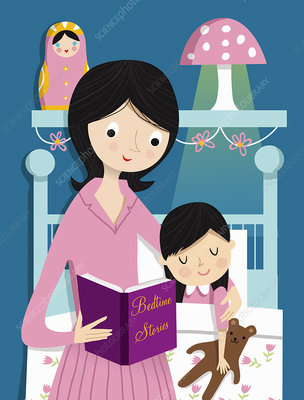 Mother reading bedtime story to daughter, illustration