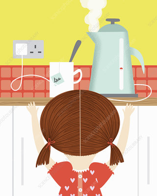 Girl watching boiling kettle in kitchen, illustration
