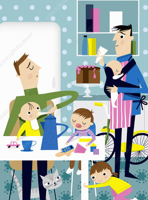 Househusbands busy in kitchen, illustration