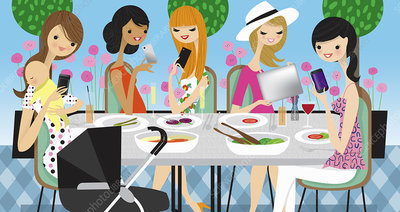 Women friends using cell phones, illustration