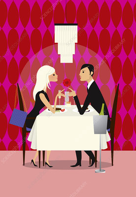 Couple enjoying romantic dinner in restaurant, illustration