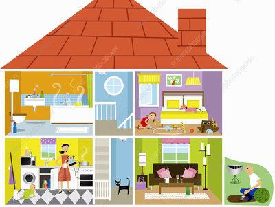 Family house with potential hazards, illustration