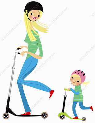Mother and daughter riding push scooters, illustration