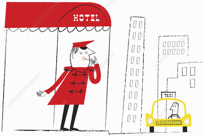 Hotel doorman blowing whistle to hail taxi cab, illustration