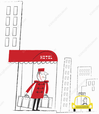 Bell boy carrying suitcases, illustration