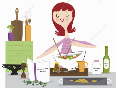 Young woman making healthy salad, illustration