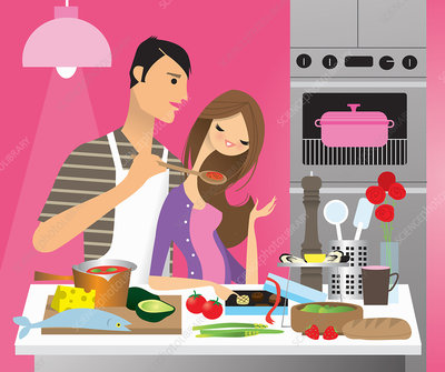Man cooking romantic dinner for girlfriend, illustration