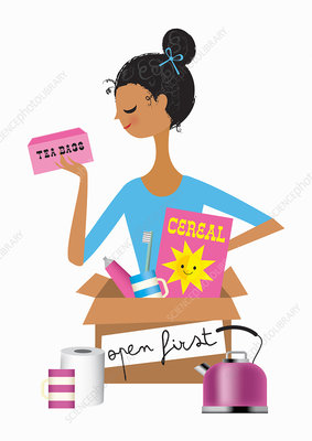 Woman opening box with kettle, illustration