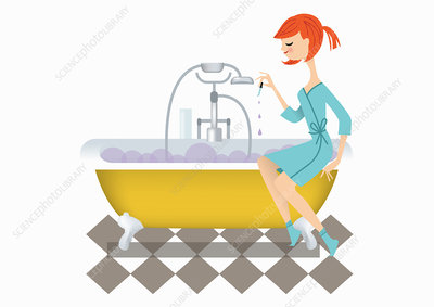 Woman dropping essential oils into bubble bath, illustration