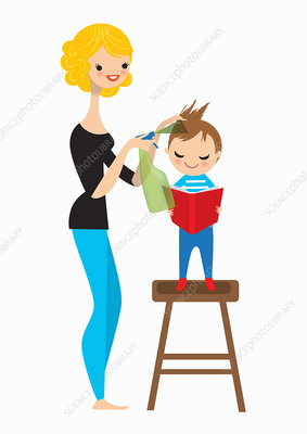 Mother spraying boy's hair for head lice, illustration