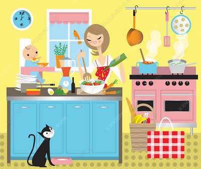 Mother cooking lunch with baby in high chair, illustration